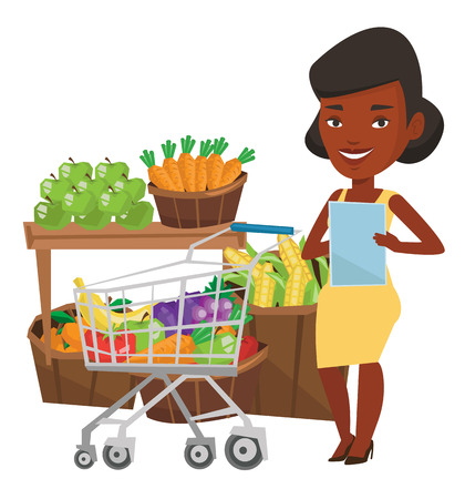 African-american woman checking shopping list. Woman holding shopping list near trolley with products. Woman writing in shopping list. Vector flat design illustration isolated on white background.