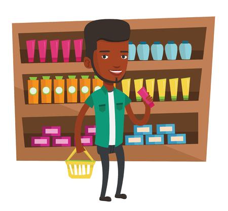 mujer en el supermercado: Compras de los clientes afroamericanos en el supermercado con cesta. Cliente que sostiene la cesta de compras en una mano y tubo de crema en otra. Vector ilustración de diseño plano aislado sobre fondo blanco. Vectores