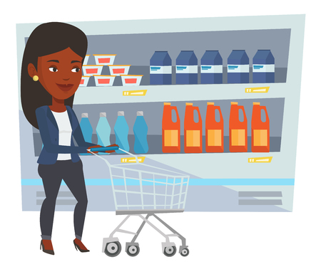 African woman walking with cart on aisle at supermarket. Woman pushing empty supermarket cart. Woman shopping at supermarket with cart. Vector flat design illustration isolated on white background. Illustration