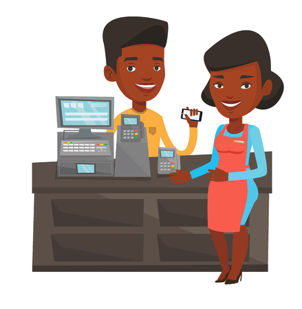 African-american man paying wireless with his smartphone at the supermarket checkout. Customer making payment for purchase with smartphone. Vector flat design illustration isolated on white background