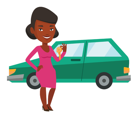 Young african-american woman holding keys to her new car. Woman showing key to her new car. Woman standing on the backgrond of her new car. Vector flat design illustration isolated on white background