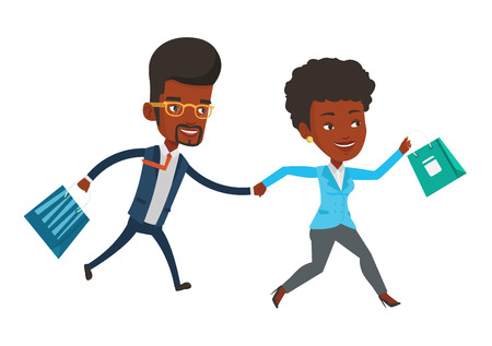 African-american couple rushing on sale and promotion. People rushing on sale to the shop. People running in a hurry to the store on sale. Vector flat design illustration isolated on white background. Иллюстрация