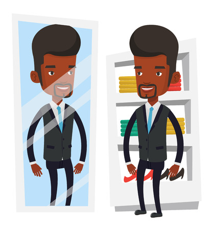 African man looking at himself in a mirror in dressing room. Man trying on suit in dressing room. Man choosing clothes in dressing room. Vector flat design illustration isolated on white background.