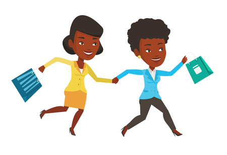 African-american women rushing on sale and promotion. People rushing on sale to the shop. Women running in a hurry to the store on sale. Vector flat design illustration isolated on white background. Иллюстрация
