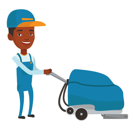 African-american worker of cleaning services in supermarket. Young man cleaning supermarket floor. Man working with cleaning machine. Vector flat design illustration isolated on white background.