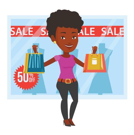 Vrouw met het winkelen zakken die zich voor winkel met verkoopteken bevinden. Vrouwenholding het winkelen zakken voor storefront met tekstverkoop. Vector platte ontwerp illustratie op een witte achtergrond. Stock Illustratie