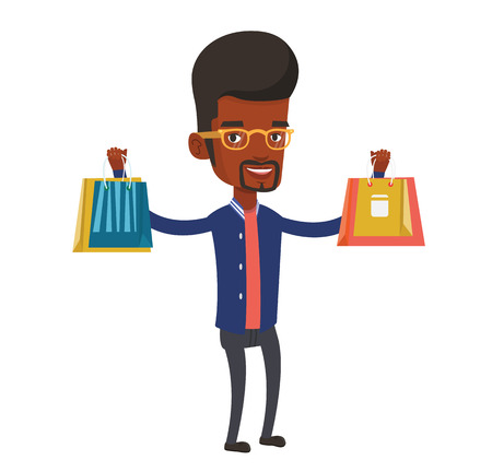 African-american man carrying shopping bags. Man holding shopping bags. Man standing with a lot of shopping bags. Guy showing his purchase. Vector flat design illustration isolated on white background Illustration