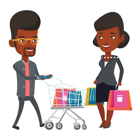 consumerism: Happy african-american couple shopping. Smiling woman and man with shopping bags and trolley. Shopping, sale and consumerism concept. Vector flat design illustration isolated on white background.