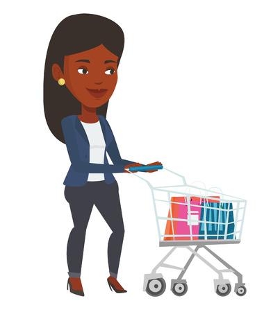 African-american woman pushing shopping trolley. Woman rushing to shopping with trolley. Smiling woman walking with empty shopping trolley. Vector flat design illustration isolated on white background Illustration