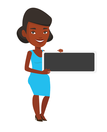 Young african-american woman holding black blank board. Smiling woman holding an empty board. Cheerful woman showing black board. Vector flat design illustration isolated on white background.