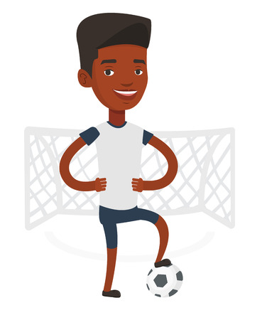 Young african-american sportsman standing with football ball on the stadium. Professional football player standing with ball on the field. Vector flat design illustration isolated on white background.