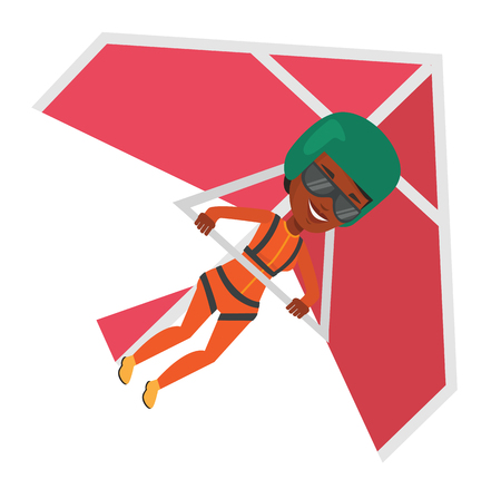 African woman flying on hang-glider. Sportswoman taking part in hang gliding competitions. Woman having fun while gliding on delta-plane. Vector flat design illustration isolated on white background Illustration