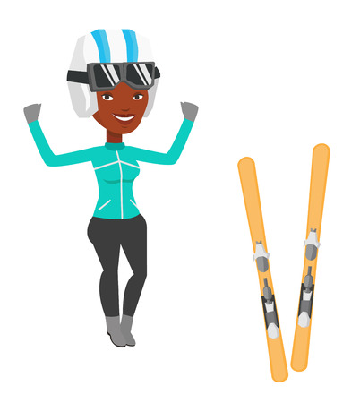Smiling african-american sportswoman standing with skis. Young happy woman skiing. Cheerful skier resting in mountains. Vector flat design illustration isolated on white background.