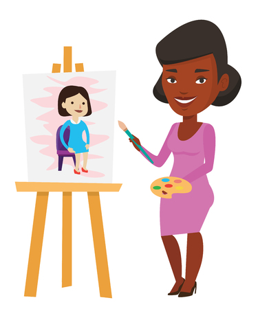 African-american young artist painting a female model on canvas. Creative artist drawing on an easel. Cheerful artist working on painting. Vector flat design illustration isolated on white background.