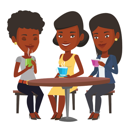 Group of young african friends drinking hot and alcoholic drinks. Three friends hanging out together in cafe. Friends relaxing in cafe. Vector flat design illustration isolated on white background.