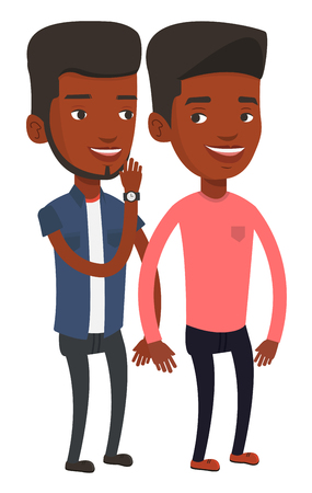 African-american man shielding his mouth and whispering a gossip to a friend. Two happy men sharing gossips. Friends discussing gossips. Vector flat design illustration isolated on white background.
