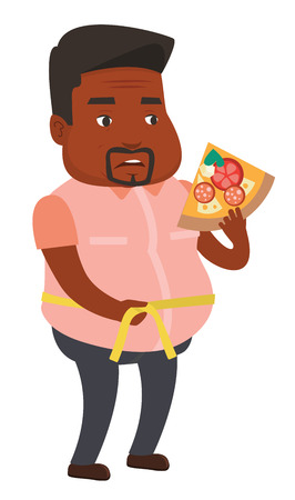 African- fat man with slice of pizza measuring a waistline. Fat man measuring a waistline with tape. Fat man with centimeter on waistline. Vector flat design illustration isolated on white background.