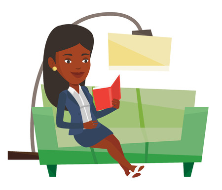 novel: African-american woman relaxing with a book on the couch at home. Woman reading a book on sofa. Woman sitting on a sofa and reading a book. Vector flat design illustration isolated on white background