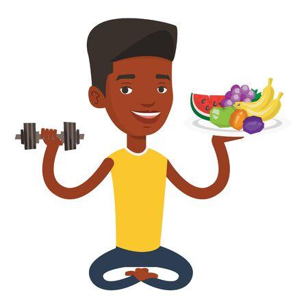 African man holding fruits and dumbbell. Man with healthy fruits and dumbbell. Man choosing healthy lifestyle. Healthy lifestyle concept. Vector flat design illustration isolated on white background. Illustration