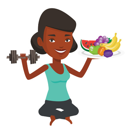 African-american sportswoman holding healthy fruits and dumbbell. Young happy woman choosing healthy lifestyle. Healthy lifestyle concept. Vector flat design illustration isolated on white background. Illustration