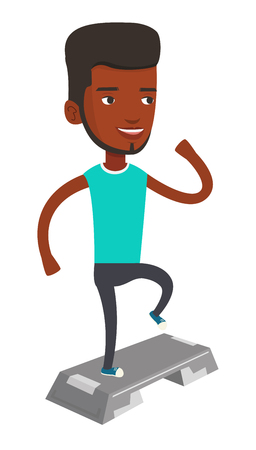 African-american man training with stepper in gym. Man doing step exercises. Man working out with stepper. Sportsman standing on stepper. Vector flat design illustration isolated on white background.