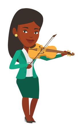 Afro-Amerikaanse muzikant permanent met viool. Jonge het glimlachen musicus het spelen viool. Gelukkige violist die klassieke muziek op viool speelt. Vector platte ontwerp illustratie op een witte achtergrond.