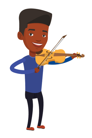 African-american musician standing with violin. Young smiling musician playing violin. Happy violinist playing classical music on violin. Vector flat design illustration isolated on white background. Ilustrace