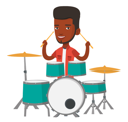 African-american mucisian playing on drums. Young smiling man playing on drums. Happy drummer sitting behind the drum kit. Vector flat design illustration isolated on white background. Illusztráció