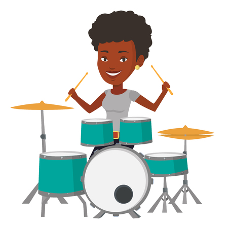 African-american mucisian playing on drums. Young smiling woman playing on drums. Happy female drummer sitting behind the drum kit. Vector flat design illustration isolated on white background. Ilustração