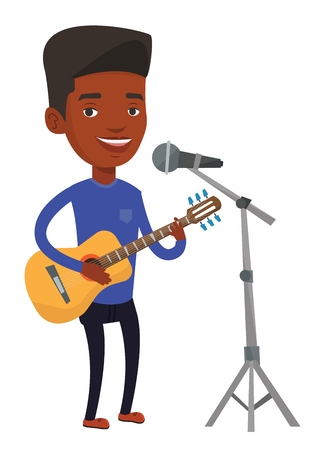African-american guitar player singing song and playing an acoustic guitar. Singer singing into microphone and playing an acoustic guitar. Vector flat design illustration isolated on white background.