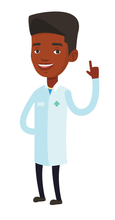 forefinger: Young african-american doctor with finger up. Doctor in medical gown showing finger up. Smiling man in doctor uniform pointing finger up. Vector flat design illustration isolated on white background.