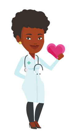 Cardiologist in doctor uniform with heart in hand. Doctor cardiologist holding heart. Healthcare and prevention of heart problems concept. Vector flat design illustration isolated on white background. Illustration