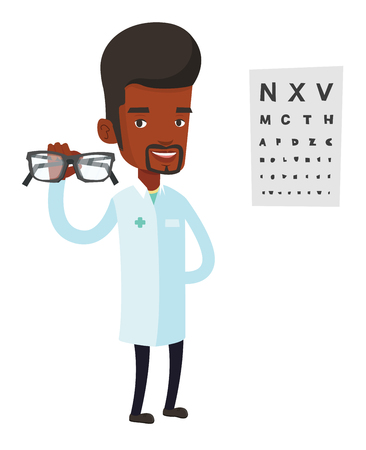 Ophthalmologist giving glasses. Ophthalmologist holding eyeglasses on the background of eye chart. Ophthalmologist offering glasses. Vector flat design illustration isolated on white background.