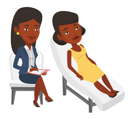 Young african patient lying on sofa and talking about problems with psychologist. Psychologist having session with patient in depression. Vector flat design illustration isolated on white background. Stok Fotoğraf - 83335775