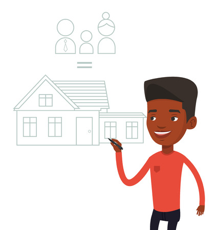 black family: Young african-american man drawing family house. Man drawing a house with a family. Man dreaming about future life in a new family house. Vector flat design illustration isolated on white background. Illustration