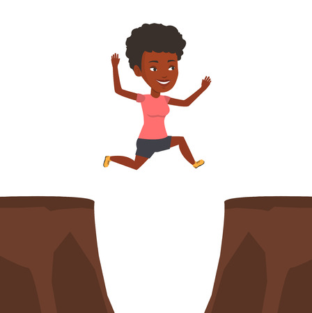 African sportswoman jumping across the gap from one rock to another. Sportswoman jumping over rocks with gap. Young sportswoman running. Vector flat design illustration isolated on white background.
