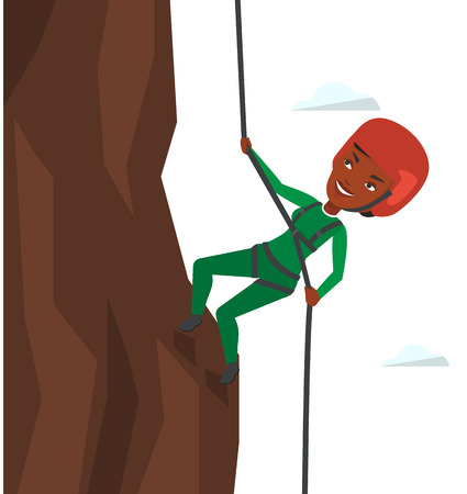 African-american rock climber in action. Rock climber in protective helmet climbing on rock. Smiling woman climbing in mountains with rope. Vector flat design illustration isolated on white background 向量圖像