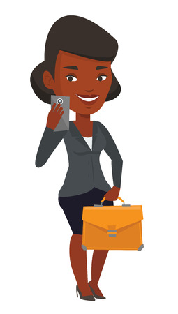 Business woman with briefcase making selfie. Business woman making selfie with cellphone. Woman looking at smartphone and taking selfie. Vector flat design illustration isolated on white background.