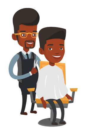 An african-american barber cutting hair of man at barbershop. Professional barber making haircut to a client with scissors in barbershop. Vector flat design illustration isolated on white background. Illustration