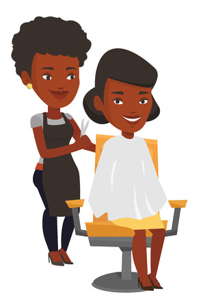 grooming: African hairdresser cutting hair of young woman in beauty saloon. Hairdresser making haircut to a client with scissors in beauty saloon. Vector flat design illustration isolated on white background.