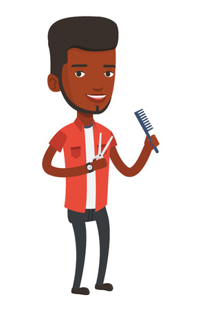barbershop: Full length of young african-american barber holding comb and scissors in hands. Barber ready to do a haircut. Professional barber at work. Vector flat design illustration isolated on white background Illustration