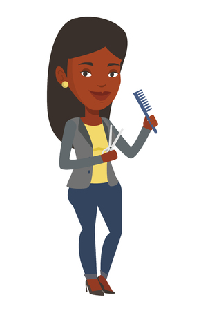 Full length of young female hairstylist holding comb and scissors in hands. African-american female hairstylist ready to do a haircut. Vector flat design illustration isolated on white background.