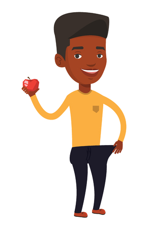 Man in oversized trousers holding an apple. Man on a diet. Slim man showing the results of his diet. Dieting and healthy lifestyle concept. Vector flat design illustration isolated on white background