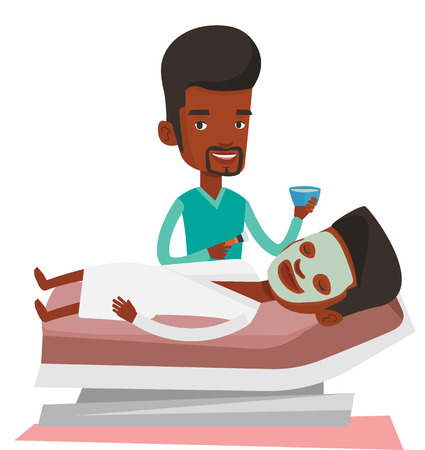 African cosmetologist applying cosmetic mask on face of client in beauty salon. Young man lying on table in salon during beauty treatment. Vector flat design illustration isolated on white background.