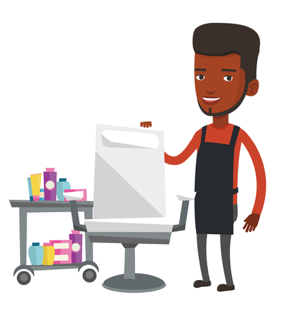 grooming: African-american barber standing near armchair and table with cosmetics in barbershop. Young barber standing at workplace in barbershop. Vector flat design illustration isolated on white background. Illustration