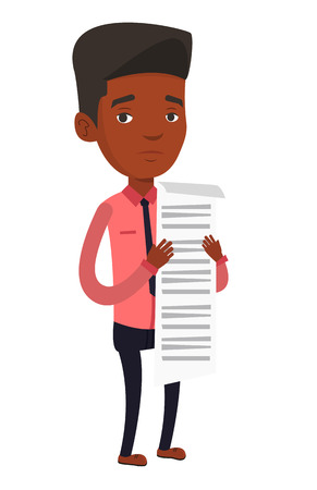 African businessman standing with a long bill in hands. Disappointed businessman holding long bill. Businessman looking at long bill. Vector flat design illustration isolated on white background. Illustration