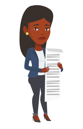 African businesswoman standing with a long bill in hands. Disappointed businesswoman holding long bill. Businesswoman looking at long bill. Vector flat design illustration isolated on white background