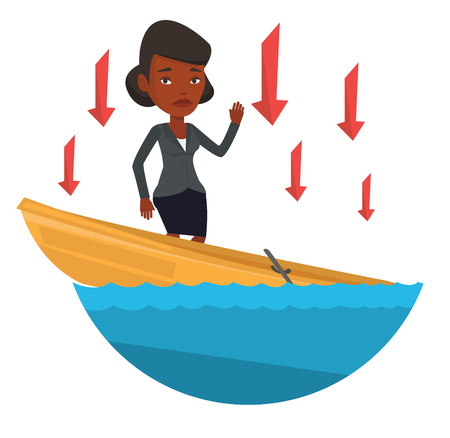 drift: Business woman standing in sinking boat and asking for help. Business woman sinking and arrows behind her symbolizing business bankruptcy. Vector flat design illustration isolated on white background.