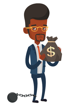shackles: Chained african businessman holding bag full of taxes. Upset taxpayer holding bag with dollar sign. Concept of tax time and taxpayer. Vector flat design illustration isolated on white background. Illustration