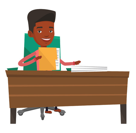 An african office worker working with documents. Office worker sitting at the table with documents. Office worker inspecting documents. Vector flat design illustration isolated on white background. Ilustração